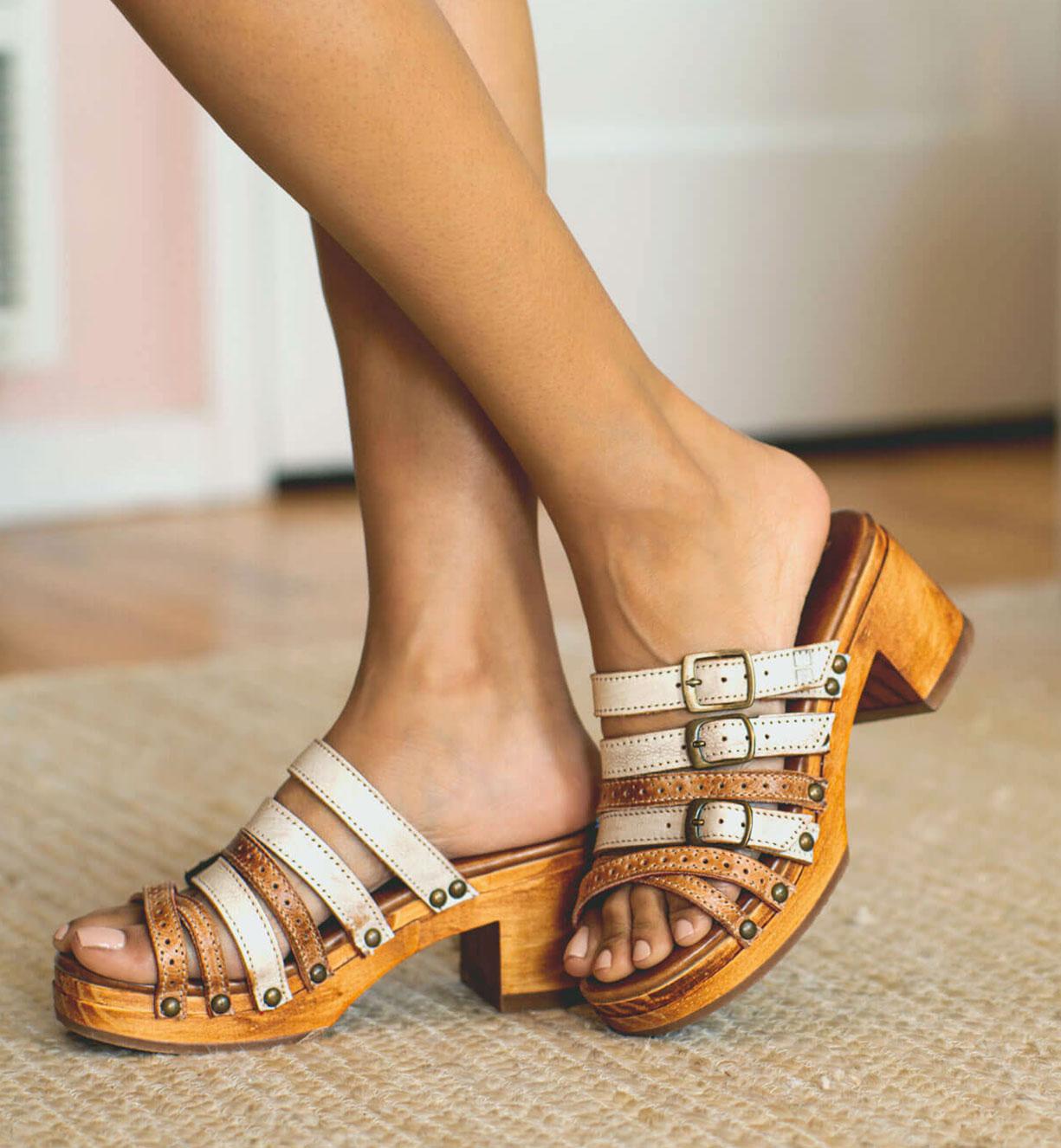bedstu women's wooden platform sandals