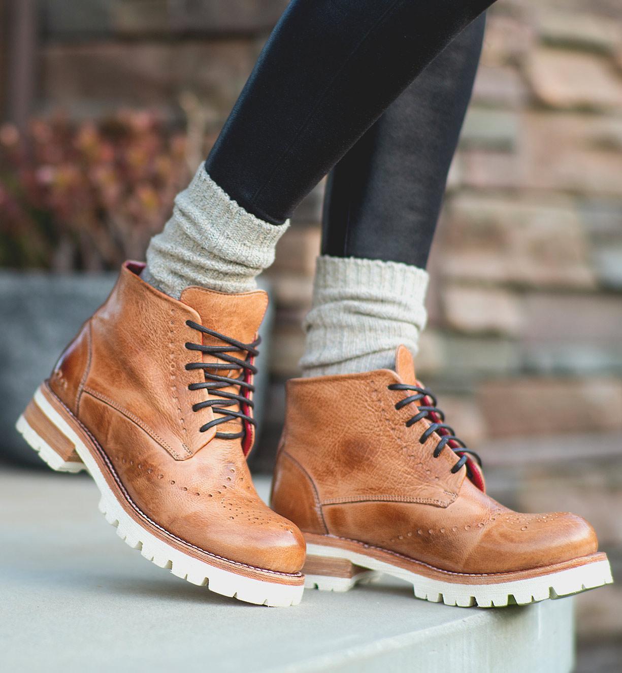 lace up short boots on lightweight platform