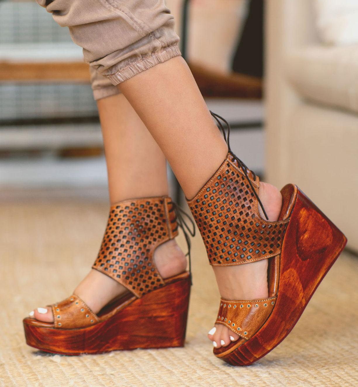 bedstu women's wedges and wooden platform sandals heels