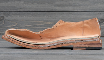 Cross section of mens Corsico shoe with leather stacked heels, cork midsole, latex sock, leather midsole fully leather lined