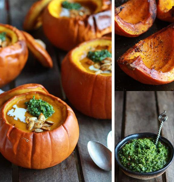 Image of roasted garlic sage pesto pumpkin soup served inside of an orange pumpkin.