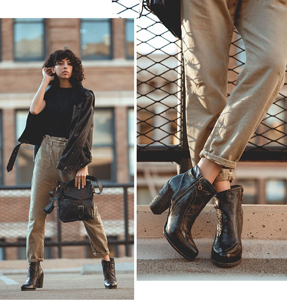 Bed|Stü's handmade leather bootie, Isla, and leather crossbody bag, Venice Beach, styled with paperbag military-inspired cropped pants, and a classic leather jacket.