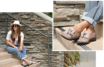 Close and wide shots of a woman sitting on steps wearing a white blouse with loose light jeans, wearing Bed Stu Capella loafers in Light Grey Palila Mason