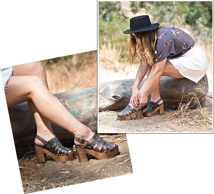 Two images of a woman sitting on a log in a shrubby area, wearing Bed Stu Fontella wooden heels in Black Lux