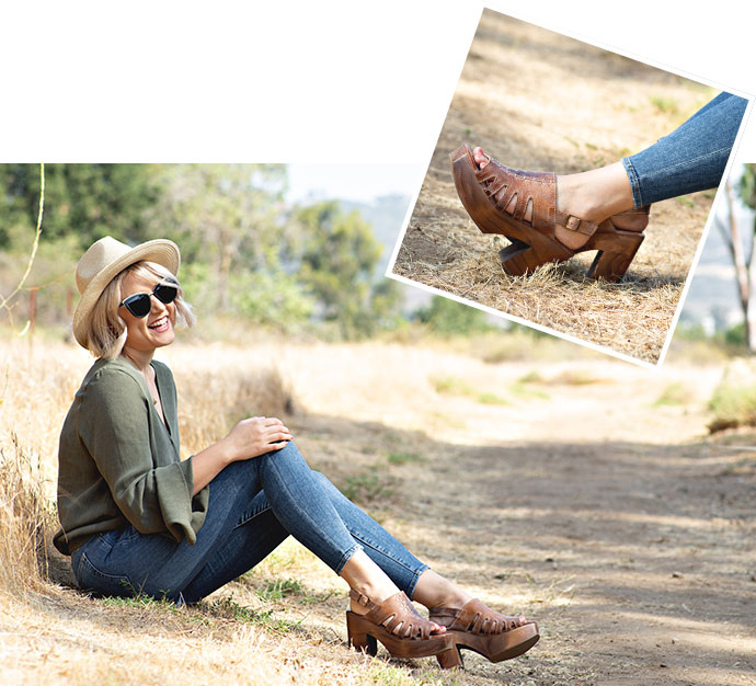 Images of a woman sitting in dry grass and laughing, wearing Bed Stu Fontella wooden heels in Tan Rustic Mason