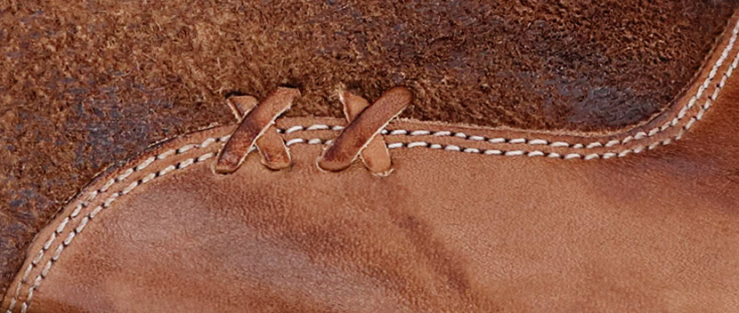 Close up of  2 hand sewn leather X's detail as part of a shoe