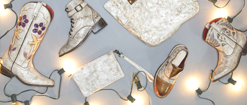 Bed|Stü's collection of leather shoes, boots & accessories in our Nectar Lux White finish