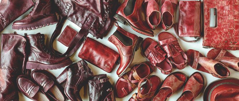 Bed|Stü's many shades of red leather sandals, shoes & leather goods.