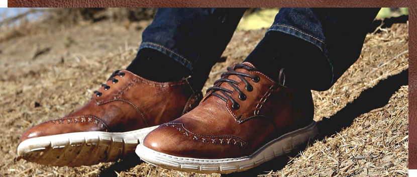 Mens Teak Driftwood Cayuga leather shoe, handmade vegetable tanned with Italian extralight soles