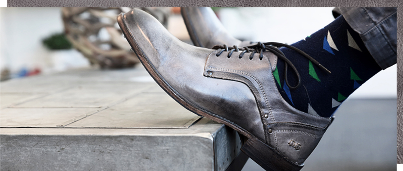 Mens Stone Grey Larino Vegetable tanned goodyear welted plain to oxford shoe word with black funky socks