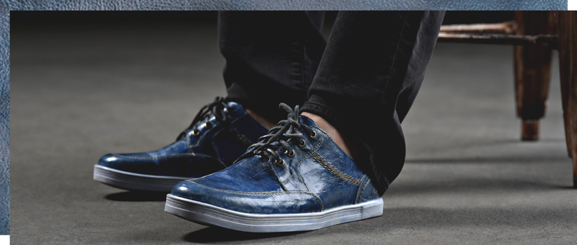 Funky blue Mens Duncan leather dip dyed sneakers with blue stained white soles