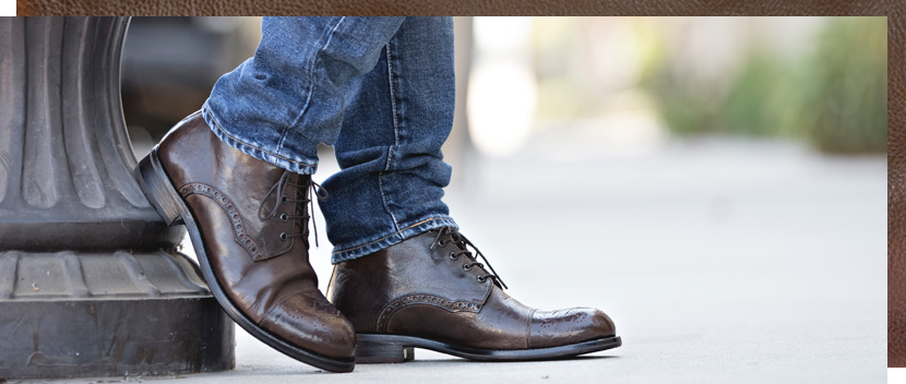 Mens Dark Brown Ivan Short boot, a cap toe lace up with perfed medallion on the toe and bluchers.  Made in Italy