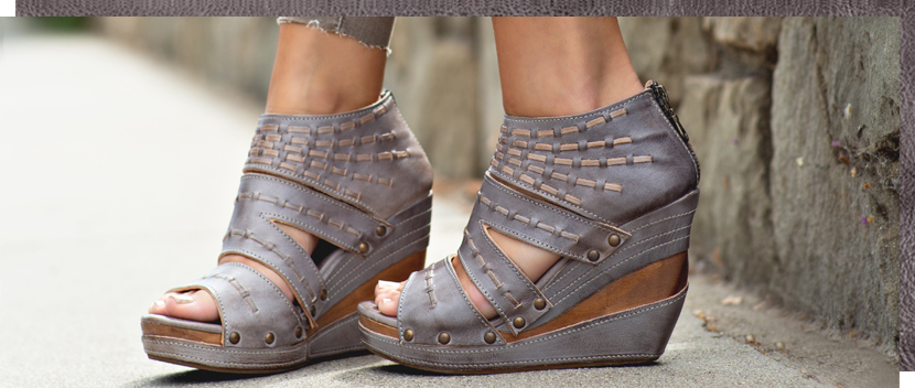 Womens grey 4 inch high wood and leather wrapped Jacey wedge with hand sewn details on feet